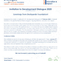 Development Dialogue Deshpande Foundation 2020 - Official Invitation